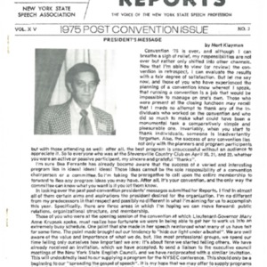NYSSA Reports  1975 Post Convention Issue